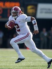 Alabama quarterback Jalen Hurts (2) at Vanderbilt Stadium in Nashville, Tenn. on Saturday September 23, 2017. (Mickey Welsh / Montgomery Advertiser)