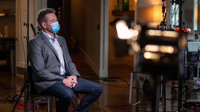 Louisville Metro Police Sgt. Jonathan Mattingly waits for an interview with Michael Strahan of ABC's 20/20 to begin. Mattingly was wounded during the botched drug raid on Breonna Taylor's apartment. Oct. 20, 2020.