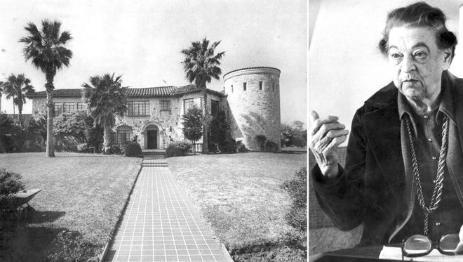 Ada Wilson's home on Ocean Drive at Doddridge, with its added turret tower, from 1977. Ada Wilson during an interview in February 1976. She died a year later. Both photographs are from the Caller-Times Archives.