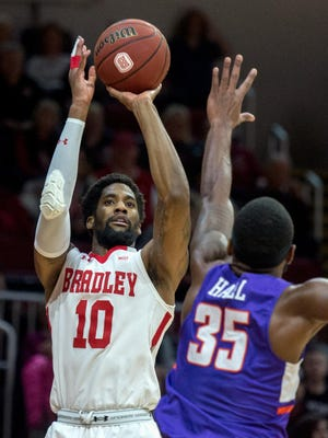 Bradley's Elijah Childs was chosen to the preseason all-MVC team, while the Braves were tabbed for a third-place finish.