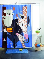 Land of Nod Charley Harper zoo babies shower curtain ($79)