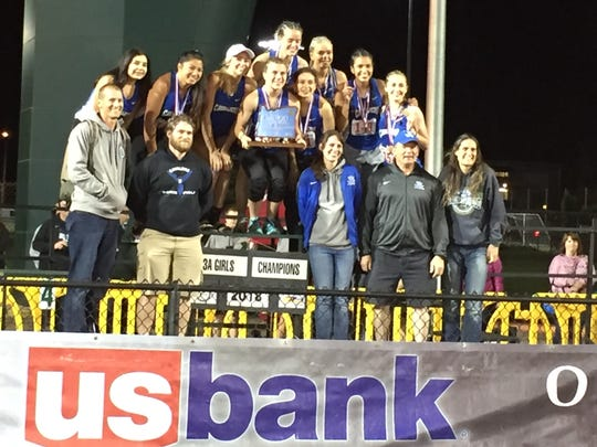 Blanchet's girls team celebrates winning the Class 3A state championship.