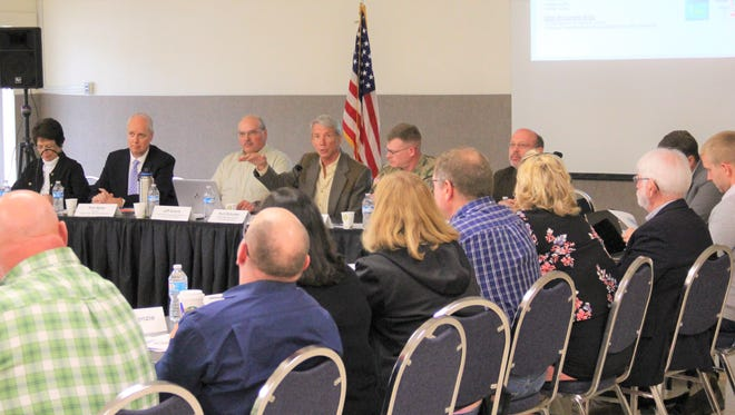 Congressman Kurt Schrader talks to a meeting of stakeholders about the Detroit Dam Fish Passage Project held at the Stayton Community Center on Tuesday, May 1, 2018.