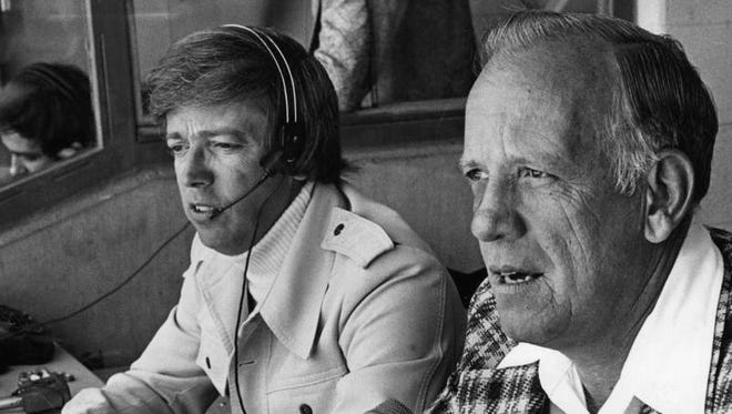 Marty Brennaman (left) and Joe Nuxhall in 1976