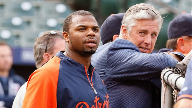 Tigers GM Dave Dombrowski had a close eye on outfielder Rajai Davis during Wednesday's workout in Baltimore.