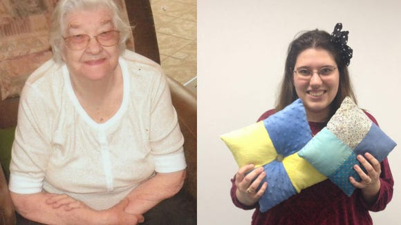 On the left is my grandma and on the right, I am holding the pillows I made in her memory.