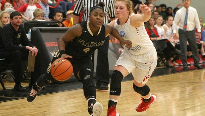 Trenton Peabody's Maya Anderson (4) works against Gibson County's Macey Neal during the District 14-A semifinals at Greenfield High School in Greenfield, Tenn., on Tuesday, Feb. 14, 2017.