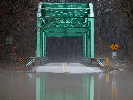 The bridge that spans the Little Pigeon Creek in Yankeetown,