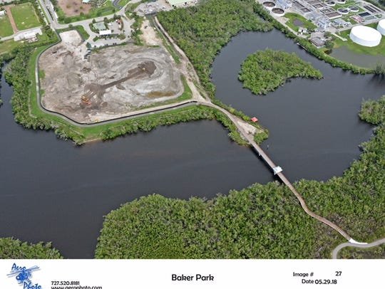 An aerial photo of the Baker Park construction site