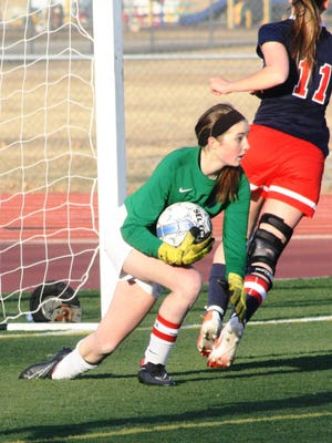 Franklin goal-keeper Kathryn MacRae, pictured during a game earlier this season, preserved Tuesday's shut-out against Canton with a pair of phenomenal stops.