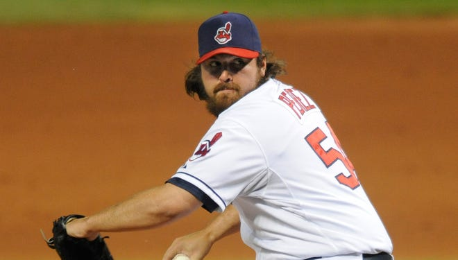 Los Angeles Dodgers reliever Chris Perez saved 24 games for the Cleveland Indians last season, while posting a 4.33 ERA.