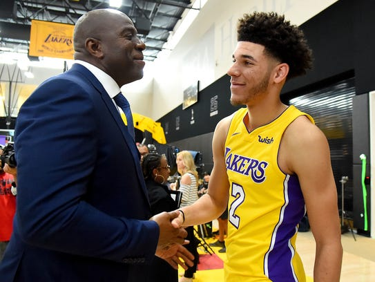 Los Angeles Lakers guard Lonzo Ball (2) and President