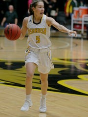 UW-Oshkosh's Chloe Pustina calls out a play for the Titans in a game against UW-Whitewater. Pustina is entering her senior season.