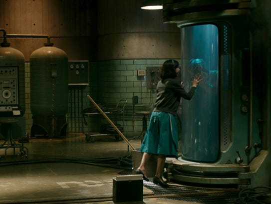 """Sally Hawkins plays Elisa, a voiceless custodian who falls in love with a captured """"Amphibian Man"""" in 1962."""
