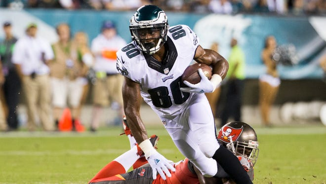Philadelphia Eagles wide receiver Paul Turner (80) in action against Tampa Bay Buccaneers safety Isaiah Johnson (39) during the second half of a the preseason NFL football game, Thursday, Aug. 11, 2016, in Philadelphia. The Eagles won 17-9. (AP Photo/Chris Szagola)