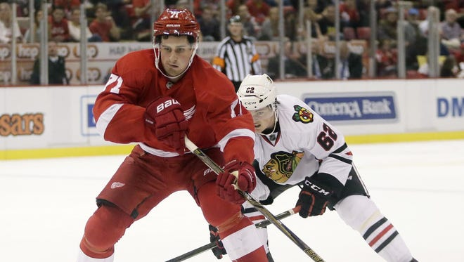 """After playing most of his first season playing on the wing, Dylan Larkin will switch to center. """"To play at center you have to make your linemates better, and hopefully I can do that this year,"""" Larkin said. """"It's a bigger role, but I'm looking forward to it."""""""