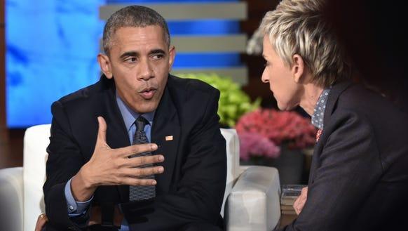 President Obama and talk show host Ellen DeGeneres.