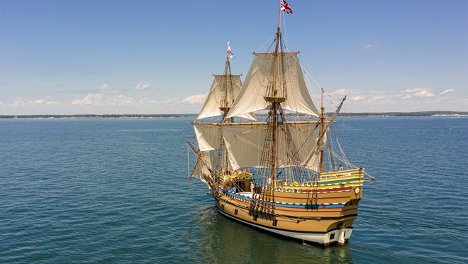 The fully restored Mayflower II is undergoing sea trials off the coast of New London, Connecticut, before returning to Plymouth. [Courtesy Photo/Plimoth Plantation