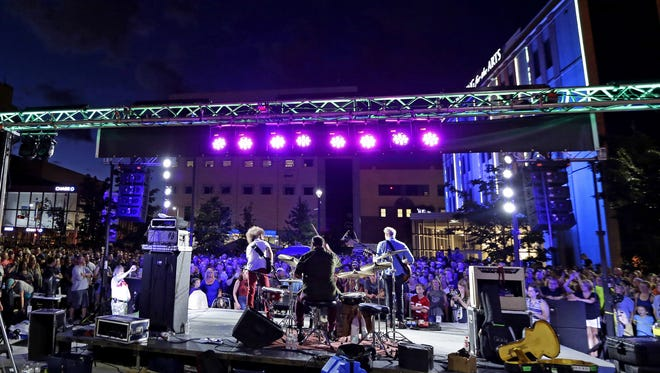 Wild Adriatic performs at Houdini Plaza in downtown Appleton during Mile of Music in 2016.