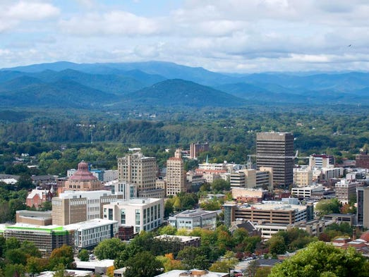 Looking west over downtown Asheville North Carolina