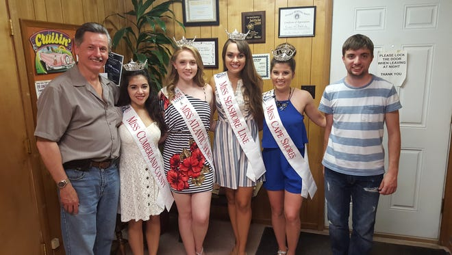 """(From left) Alex Kaganzev, Miss Cumberland County Olivia Cruz of Vineland, Miss Atlantic Shores' Outstanding Teen Amanda Peacock, Miss Seashore Line Brenna Weick, Miss Cape Shores Kelcie Klaus and Cory D'Amore at Cruisin' 92.1 WVLT in Vineland. Cruz and Peacock recently hosted their first radio talk show, """"Keeping Up With the Crown,"""" with Weick and Klaus as guests."""