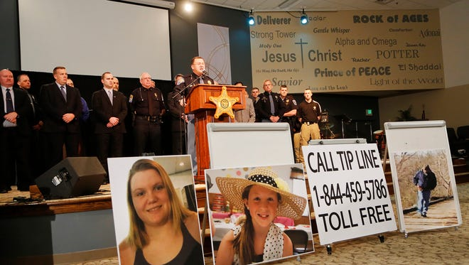 Capt. David Bursten of the Indiana State Police is joined by law enforcement officials from numerous departments to provide the latest details of the investigation into the murders of Liberty German and Abigail Williams Wednesday, February 22, 2017, at Delphi United Methodist Church in Delphi. Police released an audio clip believed to be that of the girl's killer taken from Liberty German's cellphone.