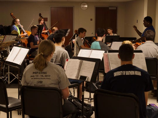 The orchestra rehearses in the basement of Old National