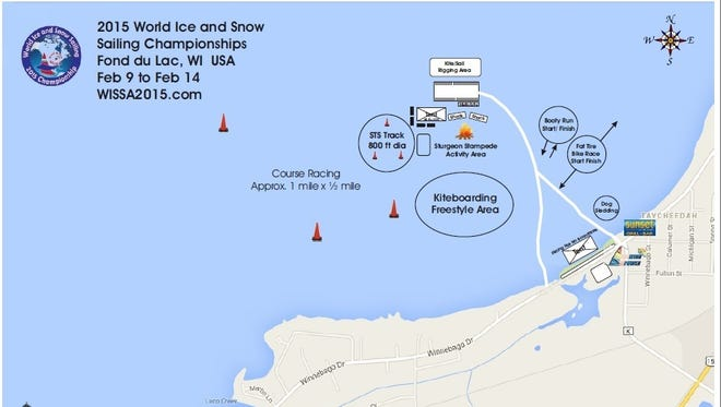 WORLD ICE AND SNOW SAILING CHAMPIONSHIPS, STURGEON STAMPEDE EVENT MAP