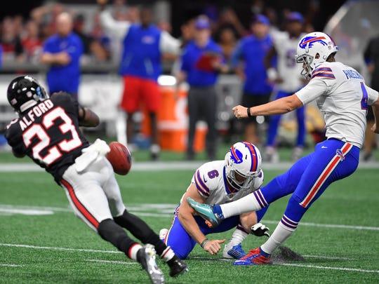 Oct 1, 2017; Atlanta, GA, USA; Buffalo Bills kicker