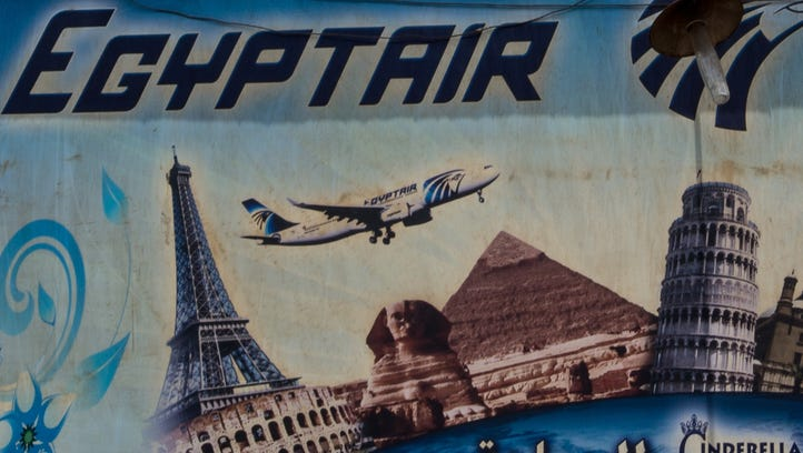 An advert promoting EgyptAir is seen on the outside