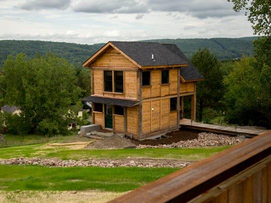 The exterior of a home built by Tiny Timbers LLC. The