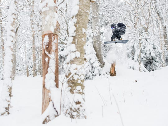 At Mount Snow in early February, skiers and boarders found powder stashes in the trees even days after a storm.