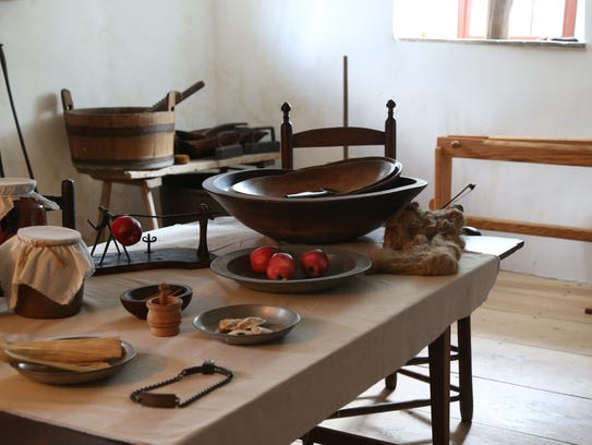 The cellar kitchen inside the Hasbrouck House on Historic
