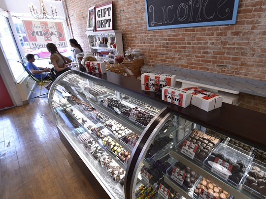 Period sitting areas are tucked inside the new portion of the Door County Candy, 12 N. Third Ave., Sturgeon Bay. Along with homemade chocolate, the store carries licorice, popcorn, ice cream and novelty candy.