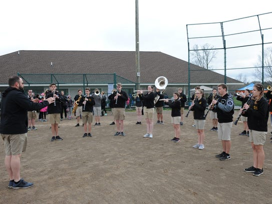 Plymouth-Canton Educational Park Marching Band members