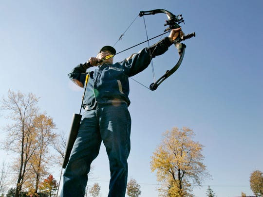 Robert Ribar of the town of Brookfield aims while practicing