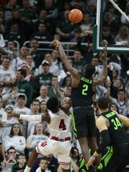 Michigan State forward Jaren Jackson Jr. blocks a shot
