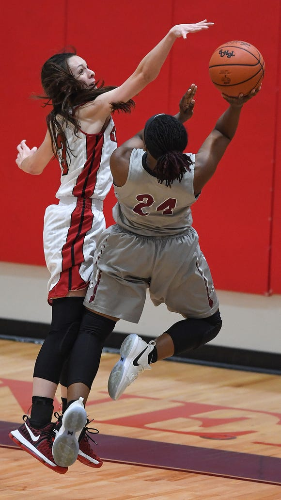 Wade Hampton's Alexis Guthrie, left, guards Rock Hill's