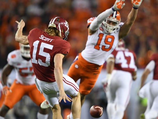 Jan 9, 2017; Tampa, FL, USA; Alabama Crimson Tide punter