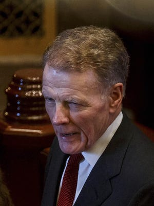 Illinois Speaker of the House Michael Madigan, D-Chicago, talks on the floor of the Illinois House on July 27, 2017 in Springfield.