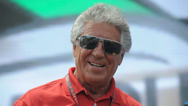 Mario Andretti on stage Saturday May 24,  2014 at The Indianapolis Motor Speedway.