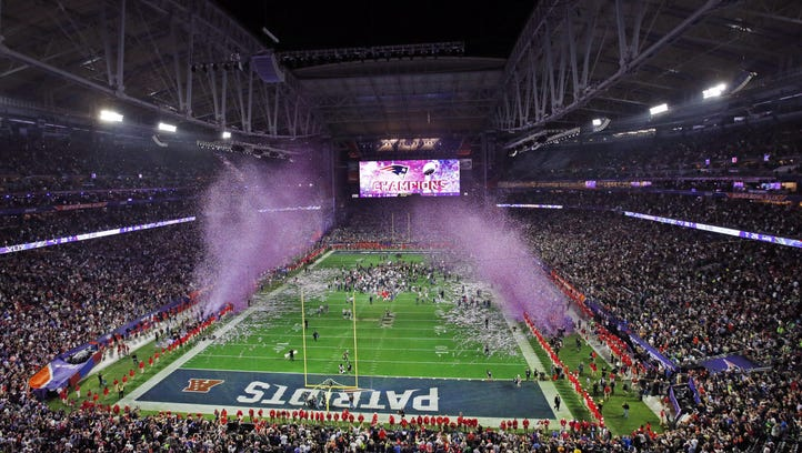 New England Patriots celebrate winning Super Bowl XLIX