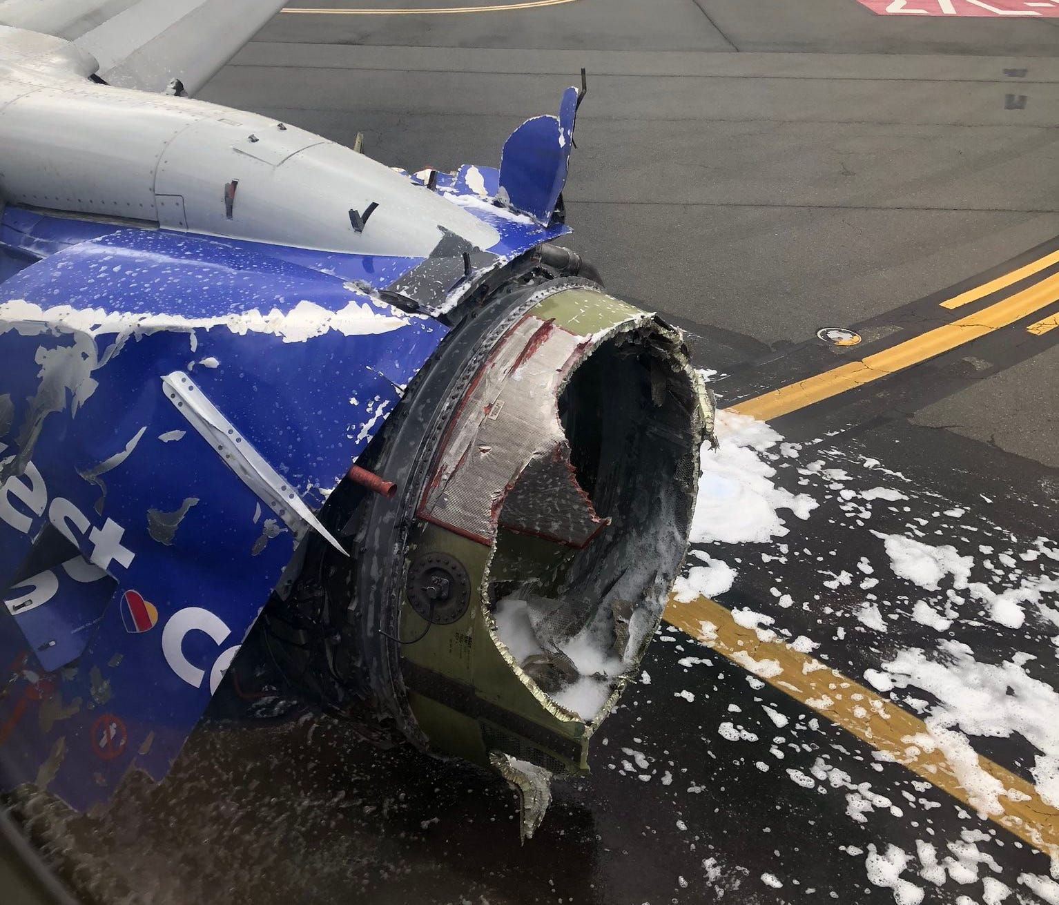 Twitter Image showing what appears to be the damaged engine on a Southwest Airlines airplane on April 17, 2018.