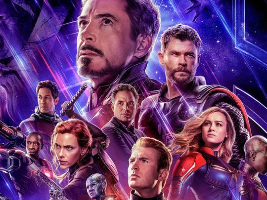 A poster featuring superheroes from Marvel's Avengers: Endgame