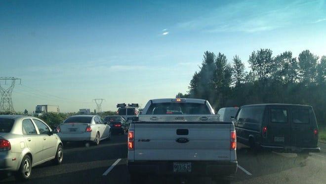 Traffic backed up on I-5 North near Woodburn