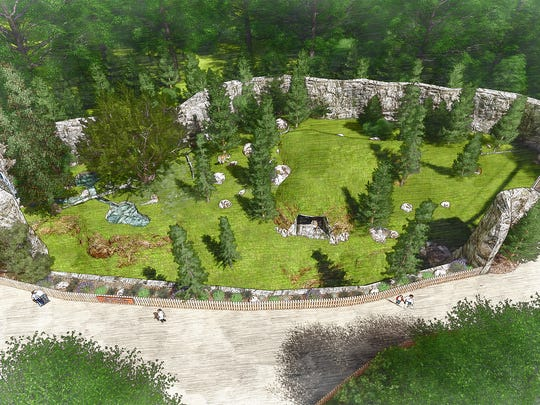 A rendering imagines the Detroit Zoo's Devereaux Tiger Forest before construction began in 2017.