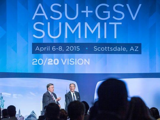 Arizona State University President Michael Crow, left,
