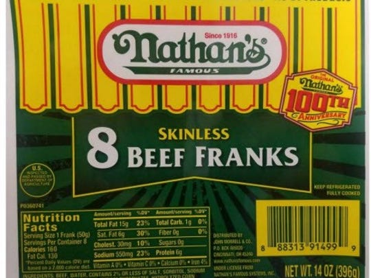 Cincinnati-based hot dog maker John Morrell has issued a recall on Nathan's Famous Skinless 8 Beef Franks because of possible metal contamination.