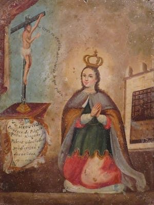 """Saint Hedwig,"" early 19th-century oil on tin. The retablo, part of the El Paso Museum of Art collection, was a gift of Dr. Steven McKnight in honor of Frank and Sara McKnight."
