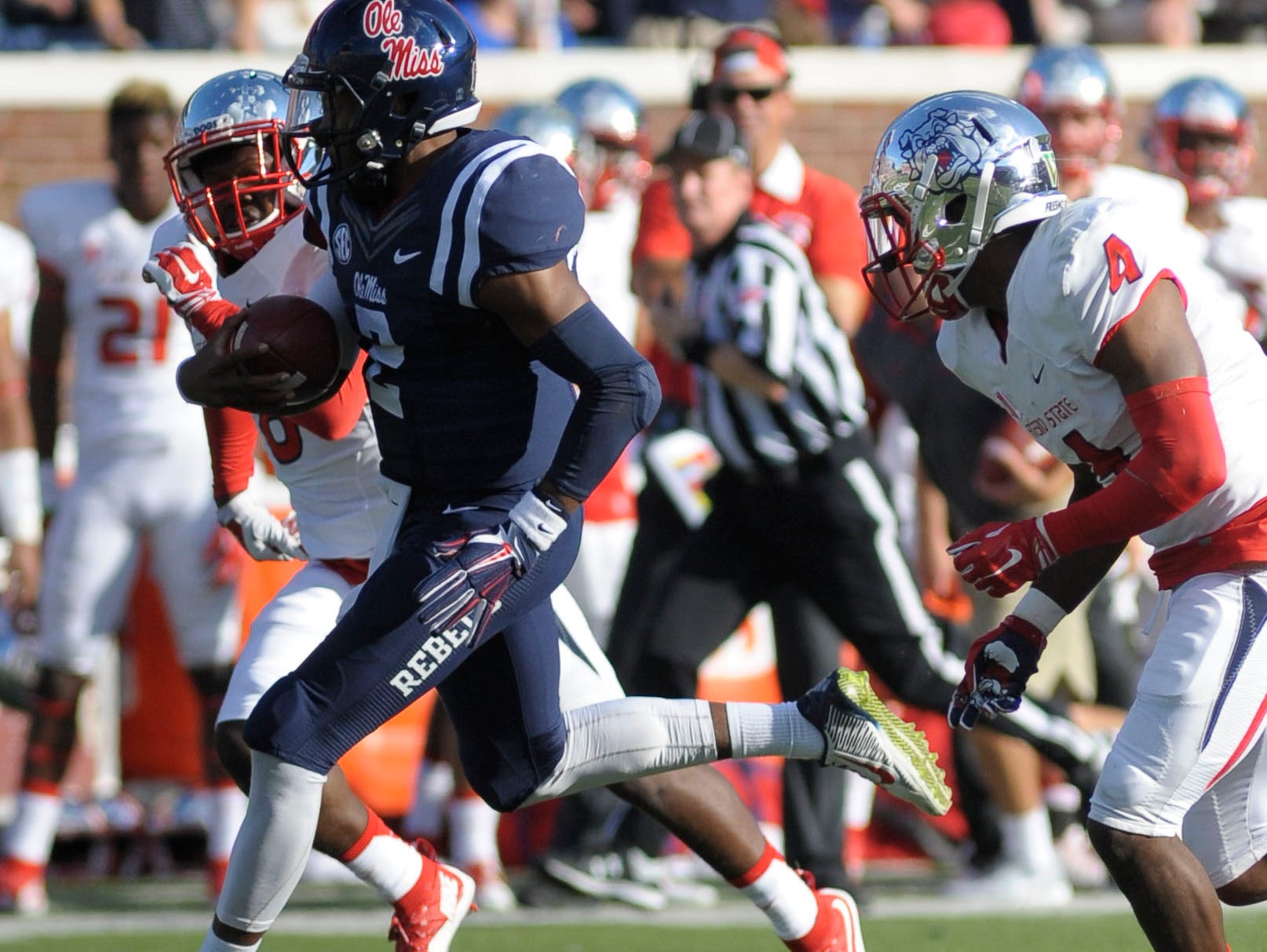 Ole Miss defensive back Tee Shepard returns an interception against Fresno State last Saturday. Shepard will miss the first half of Saturday's game against No. 2 Alabama after being ejected following a targeting call against the Bulldogs.